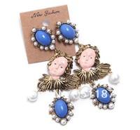 Angel Face Vintage Earing Korea women fashion jewelry blue acylic white pearl angel doll long pendant drop earrings Wholesale