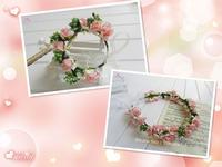 Lovely pink white Boho Hair Bridal Wedding Wreath Flower Girl Garland bridesmaid Festival Wedding bracelet suit