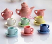 Free Shipping !  Lot of 15PCS Porcelain Coffee Tea Lid Pot Cups Set all colours~ 1/12 Scale Dollhouse Miniature Furniture(China (Mainland))