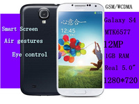 2013 New Version S4  Smart Screen 12MP Camera Phone I9500 MK6577  1GB Ram Real 5.0 Inche 1280*720 HD GPS Android smartphones
