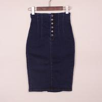 2013 autumn and winter high waist denim skirt slim hip skirt female medium-long breasted denim skirt bust female pencil skirt