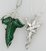 1x Set LOTR Lord Of The Rings Elven Leaf Brooch Arwen Evenstar Pendant Necklace