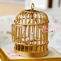 Free Shipping !  Golden Metal Bird Cage W/ White Bird ~ 1/12 Scale Dollhouse Miniature Furniture