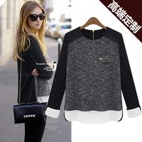 S-XL Free Shipping Fashion autumn 2013 fashion long-sleeve sweater patchwork loose chiffon shirt #K120