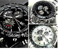 HOT!! famous brand men's quartz  watches three eyes steel wristwatch for men CURrEnS BRAND