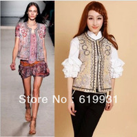 Free Shipping Isabel Marant Pink Jungle Paisley Embroidered Waistcoat Anita Embroidered Size S-XL