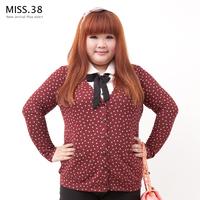 Miss38 plus size female mm autumn black velvet polka dot powder faux two piece shirt 7005