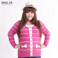 Miss38 plus size female mm autumn sweet V-neck stripe pocket elastic cardigan outerwear 8017
