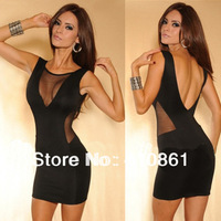 223 free shipping 2013 women new fashion Sexy cutout racerback backless gauze patchwork clubwear dress summer bodycon dresses