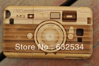 Free Shipping Natural Bamboo Wooden Hard Phone Case for Samsung Galaxy  Note2 With Curving M9 Camera Pattern