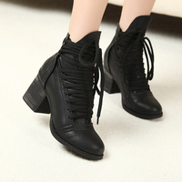 women motorcycle boots short ankle winter fashion boots women's shoes lace up leather ankle boot new 2013 free shipping Z259