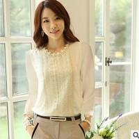 2013 autumn Lace long-sleeve basic top shirt female professional women's chiffon shirts