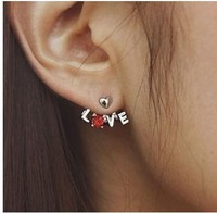Minimum order is $10 (can be mixed order)Fashion Hot Crystal LOVE Letters Stud Earrings Earrings