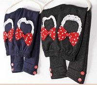 5 pcs lot 2013 New Year Fashion The Winter Female Child Baby Girls Casual Bows Warm Velvet Buttons Lace Denim Jeans for Girl