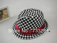 Boys Girls Hats Fedora Black and White Tartan Design  Unisex  Baby Kids Cotton Fashion Children's  Caps Hat  Dance