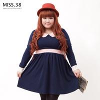 Plus size autumn miss38 peter pan collar retrorse cotton high waist one-piece dress 7026
