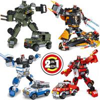 2 in 1 assembling building blocks robot toy plastic building blocks moses aragon boy toy