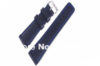 22mm (Buckle20mm)  Black+Blue Stitched Waterproof Diving Silicone Rubber Watchband 22mm watch strap