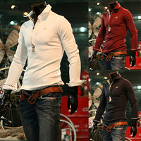 New Arrival Male plaid color block decoration of wheat embroidery long-sleeve slim polo 3146