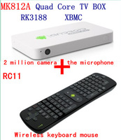 [RC11 wireless keyboard mouse] + MK812A quad-core network TV box RK3188 8gb memory 2 million camera bluetooth XBMC FreeShipping