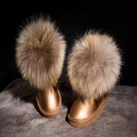 Child snow boots fox fur children parent-child shoes waterproof genuine leather cowhide male female child boots