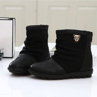 Child boots 2013 autumn children shoes female child black and white color block decoration classic small single boots