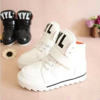 2013 autumn and winter child male female child casual fashion skateboarding shoes sport shoes black-and-white j plus velvet