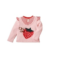 Strawberry embroidery applique pink long-sleeve sweatshirt t-shirt