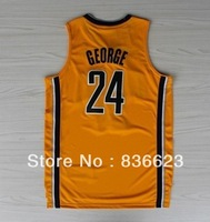 Free shipping - new material 24 Paul George Yellow Men's basketball jersey Embroidery logos size: S-XXXL