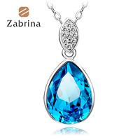 Zabrina925 pure silver necklace female short fashion design chain drop crystal pendant silver jewelry