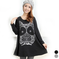 free shipping spring autumn female plus size maternity clothing owl print o-neck long-sleeve T-shirt 6201 for pregnant women