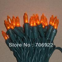 Free Shipping 10 Sets UL 50L 5M Orange 3mm Mini Icicle LED Christmas Holiday Lights String