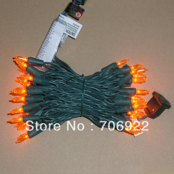 Free Shipping 20 Sets UL 50L 5M Orange 3mm Mini Icicle LED Holiday Christmas Lights(China (Mainland))