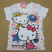 summer 2013 New product Hello Kitty girl white with short sleeves T-shirt Children's cartoon T-shirt 2-8 years old Free shipping