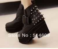 Free shipping 2013 Autumn fashion pu leather punk motorcycle boots designer rivet ankle booties women black size 35-39