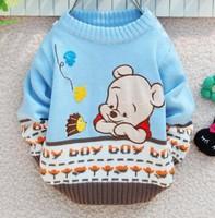 Autumn / Winter Weaving Children's Clothing,Boy's Winnie Bear Sweater 2 Colors,3pcs/lot 2-4Y(90-100-110),Free Shipping,D3-100
