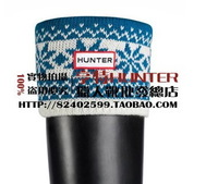 Men women winter rubber boots warm rain boots matching Knitting wool flower socks Items contains only socks