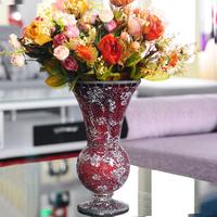 Classic handmade broken glass small flower receptacle fashion modern rustic vase indoor decoration