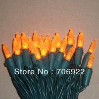 Free Shipping 10 Sets Green Wire UL 70L 7M  Orange Christmas Lights M5 LED Lights String