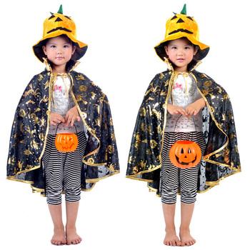 Free shipping -Halloween clothes child golden pumpkin cape lacerna pumpkin hat