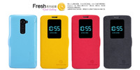 New Arrival High Quality NILLKIN Flip view window thin Phone case for LG G2(D802),Intelligent sleep Fruit color case