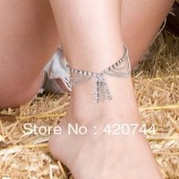 6PCS/Lot Metal Rhinestone Crystal Anklet Ankle Bracelet Link Chain Fashion