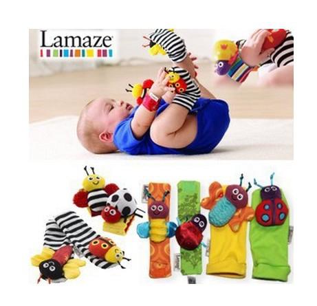 Promoção grátis frete 2 dias 4 pçs/lote Lamaze brinquedos do chocalho do bebê bonito jardim Bug Wrist Rattle and Socks pé(China (Mainland))