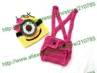 Free shipping,Girl Minion Set Crochet Despicable Me Minion suspender Diaper Cover & Hat Beanie Cap Costume Photo Prop
