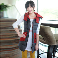 2013 autumn and winter women slim personalized candy color medium-long patchwork with a hood women's cotton vest