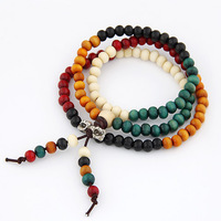 Hot Sale Fashion Korean Classic Sandalwood Beads Four Layers Rosary Stretch Charms Bracelet Gift