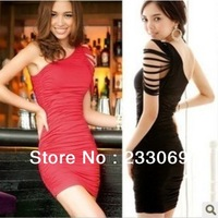 2013 Spring & Summer New free shipping Womens One Shoulder Sexy Wrinkle mini Chiffon Dress 2 colors