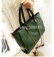 New 2014 Hot sales women handbag Simple stylish green shoulder bag Metal chain Messenger bag Wholesale free shipping B006