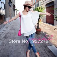 2014 hiphop street all-match sleeveless shoulder width women's chiffon shirt female basic shirt  top design free shipping