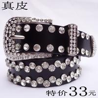 Fashion genuine leather strap Women rhinestone a women's  full diamond rhinestone crystal cowhide strap  rhinestone sash belt